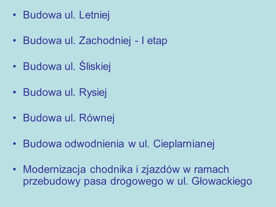 Budowa ul. Letniej Budowa ul. Zachodniej - I etap Budowa ul.