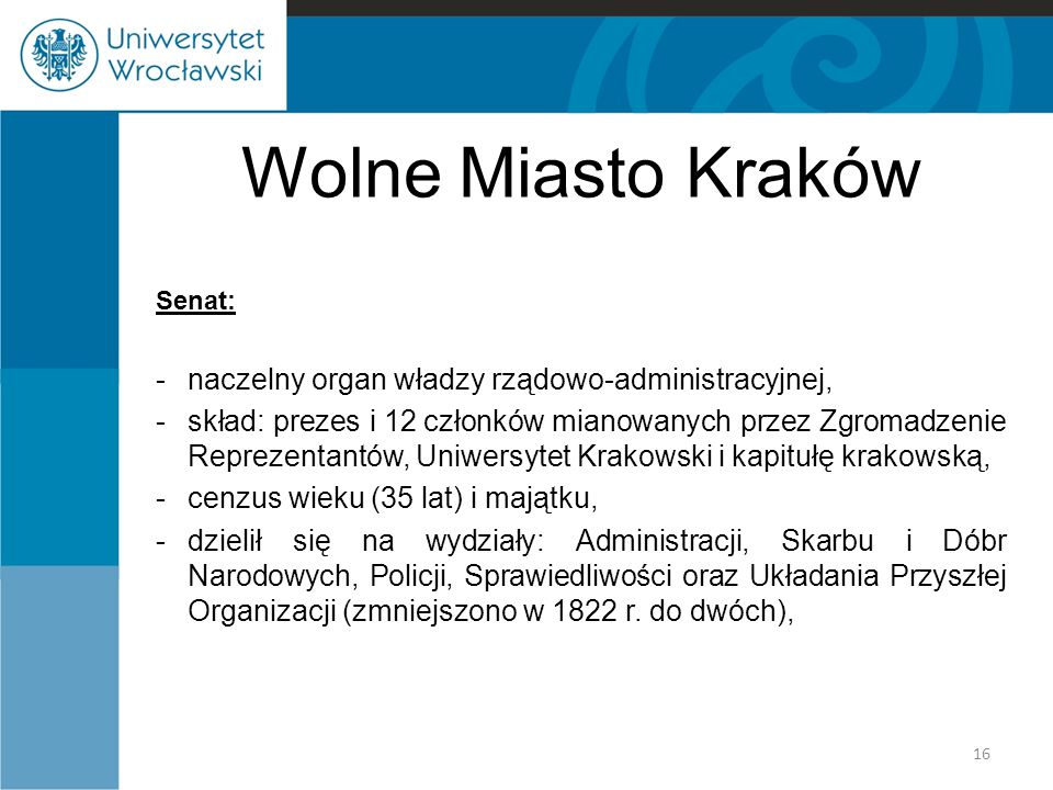 Wolne Miasto Kraków Senat: -naczelny organ władzy rządowo-administracyjnej, -skład: prezes i 12 członków mianowanych przez Zgromadzenie Reprezentantów