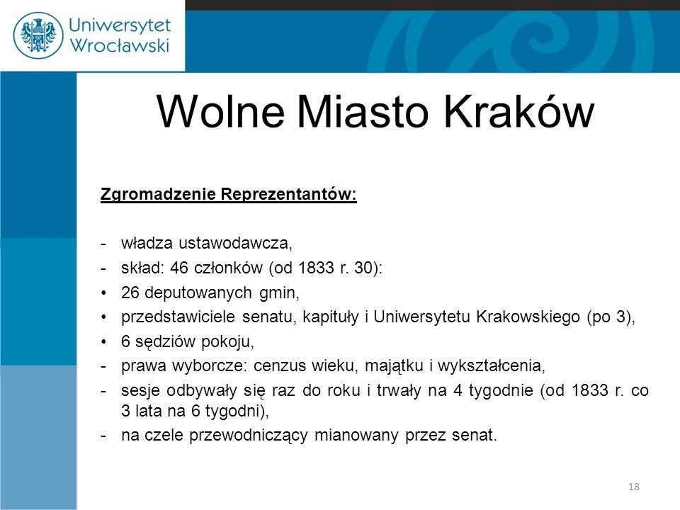 Wolne Miasto Kraków Zgromadzenie Reprezentantów: -władza ustawodawcza, -skład: 46 członków (od 1833 r. 30): 26 deputowanych gmin, przedstawiciele sena