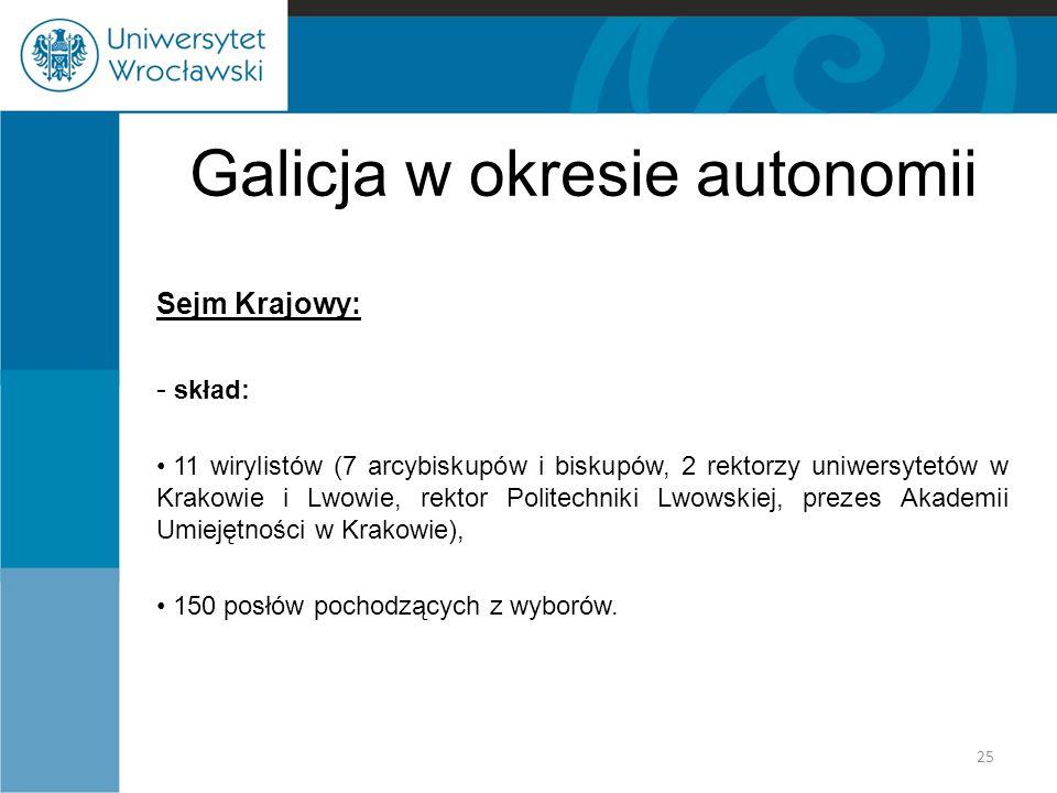 Galicja w okresie autonomii Sejm Krajowy: - skład: 11 wirylistów (7 arcybiskupów i biskupów, 2 rektorzy uniwersytetów w Krakowie i Lwowie, rektor Poli