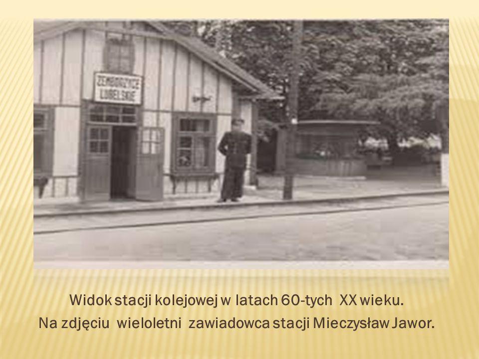 Widok stacji kolejowej w latach 60-tych XX wieku.