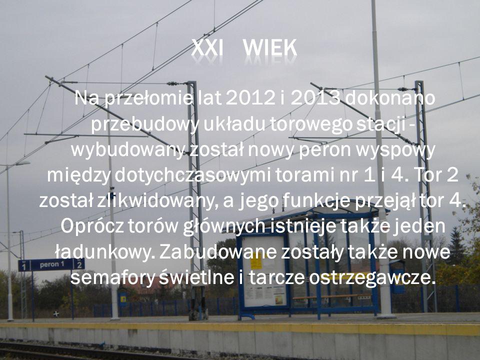 Na przełomie lat 2012 i 2013 dokonano przebudowy układu torowego stacji - wybudowany został nowy peron wyspowy między dotychczasowymi torami nr 1 i 4.