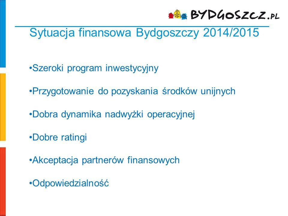 Sytuacja finansowa Bydgoszczy 2014/2015 Szeroki program inwestycyjny Przygotowanie do pozyskania środków unijnych Dobra dynamika nadwyżki operacyjnej