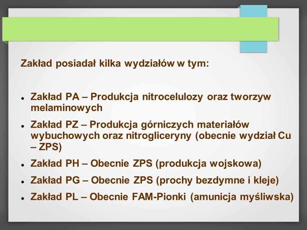 Zakład posiadał kilka wydziałów w tym: Zakład PA – Produkcja nitrocelulozy oraz tworzyw melaminowych Zakład PZ – Produkcja górniczych materiałów wybuc
