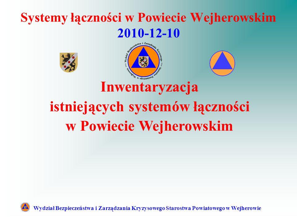 Systemy łączności w Powiecie Wejherowskim 2010-12-10 Wydział Bezpieczeństwa i Zarządzania Kryzysowego Starostwa Powiatowego w Wejherowie Inwentaryzacja istniejących systemów łączności w Powiecie Wejherowskim
