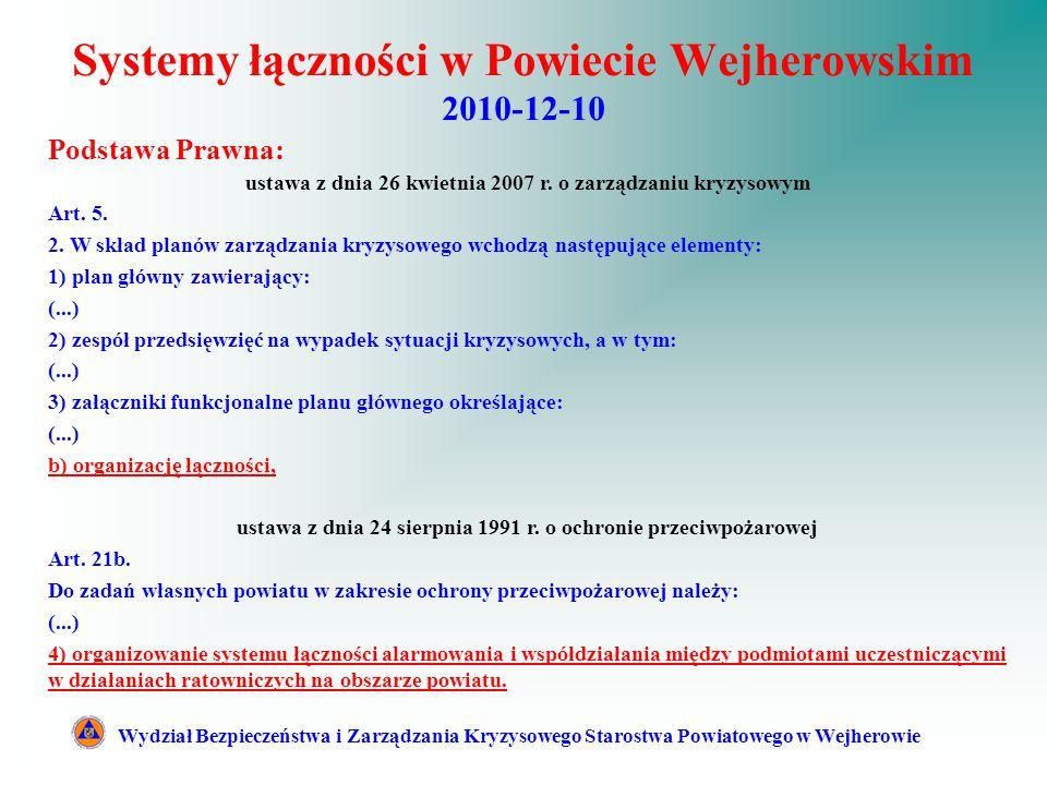 Systemy łączności w Powiecie Wejherowskim 2010-12-10 Wydział Bezpieczeństwa i Zarządzania Kryzysowego Starostwa Powiatowego w Wejherowie Podstawa Prawna: ustawa z dnia 26 kwietnia 2007 r.