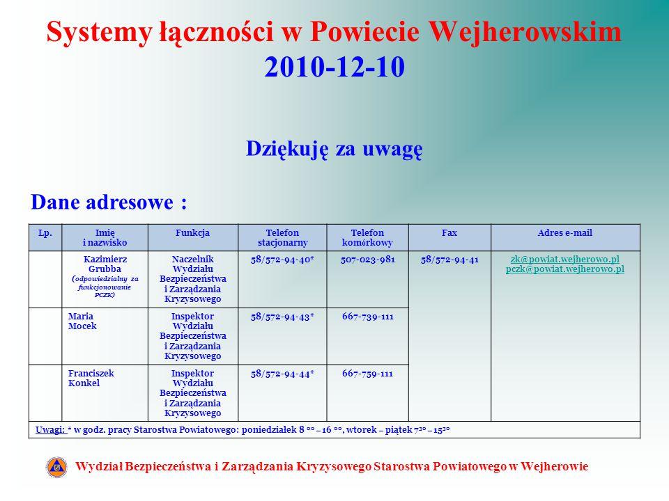Systemy łączności w Powiecie Wejherowskim 2010-12-10 Wydział Bezpieczeństwa i Zarządzania Kryzysowego Starostwa Powiatowego w Wejherowie Dziękuję za u