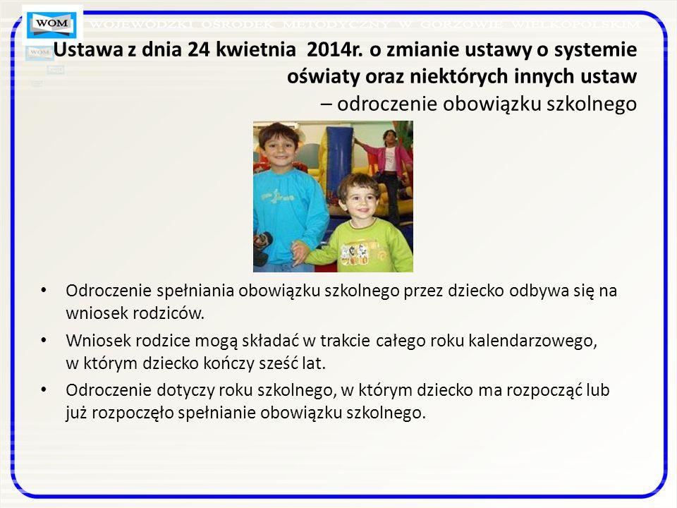 Odroczenie spełniania obowiązku szkolnego przez dziecko odbywa się na wniosek rodziców.