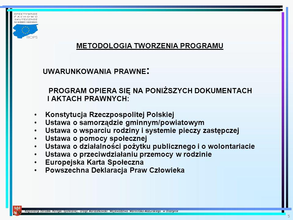 Regionalny Ośrodek Polityki Społecznej, Urząd Marszałkowski Województwa Warmińsko-Mazurskiego w Olsztynie 5 METODOLOGIA TWORZENIA PROGRAMU UWARUNKOWANIA PRAWNE : PROGRAM OPIERA SIĘ NA PONIŻSZYCH DOKUMENTACH I AKTACH PRAWNYCH: Konstytucja Rzeczpospolitej Polskiej Ustawa o samorządzie gminnym/powiatowym Ustawa o wsparciu rodziny i systemie pieczy zastępczej Ustawa o pomocy społecznej Ustawa o działalności pożytku publicznego i o wolontariacie Ustawa o przeciwdziałaniu przemocy w rodzinie Europejska Karta Społeczna Powszechna Deklaracja Praw Człowieka
