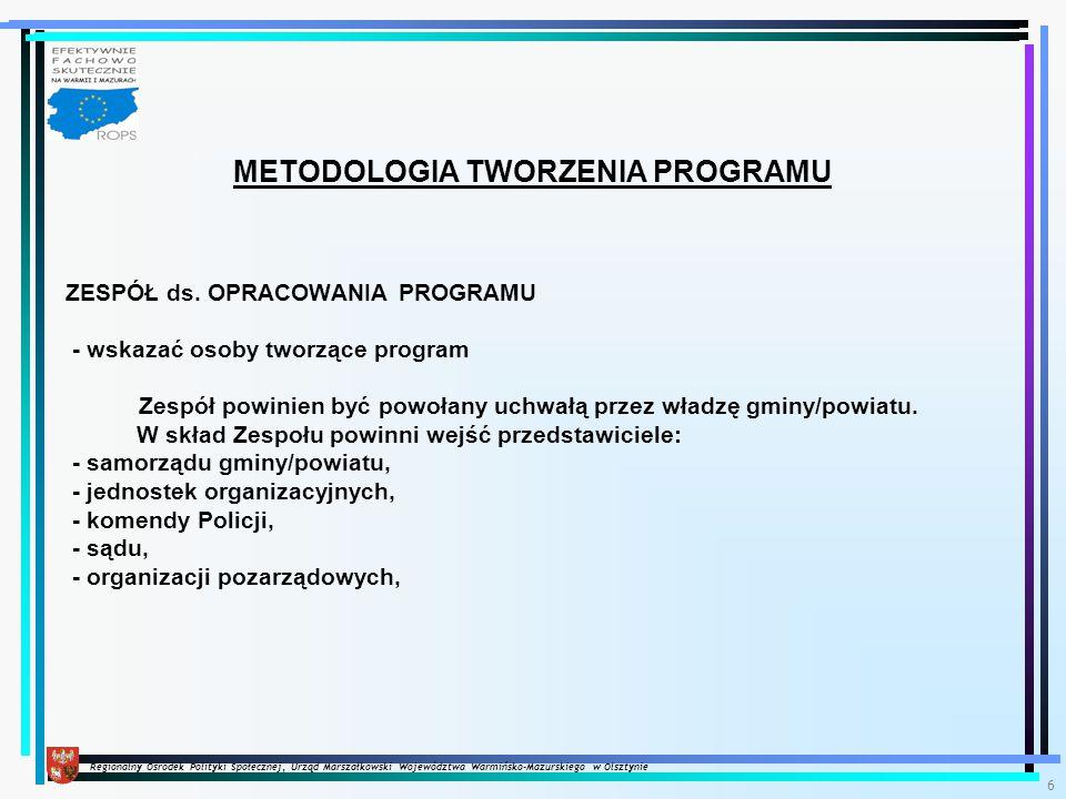 Regionalny Ośrodek Polityki Społecznej, Urząd Marszałkowski Województwa Warmińsko-Mazurskiego w Olsztynie 6 METODOLOGIA TWORZENIA PROGRAMU ZESPÓŁ ds.