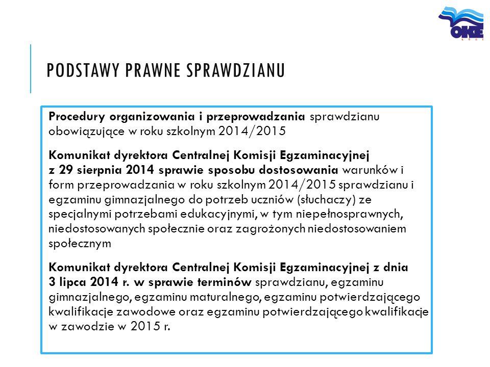 PODSTAWY PRAWNE SPRAWDZIANU Procedury organizowania i przeprowadzania sprawdzianu obowiązujące w roku szkolnym 2014/2015 Komunikat dyrektora Centralne