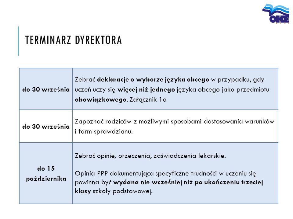 TERMINARZ DYREKTORA do 30 września Zebrać deklaracje o wyborze języka obcego w przypadku, gdy uczeń uczy się więcej niż jednego języka obcego jako prz