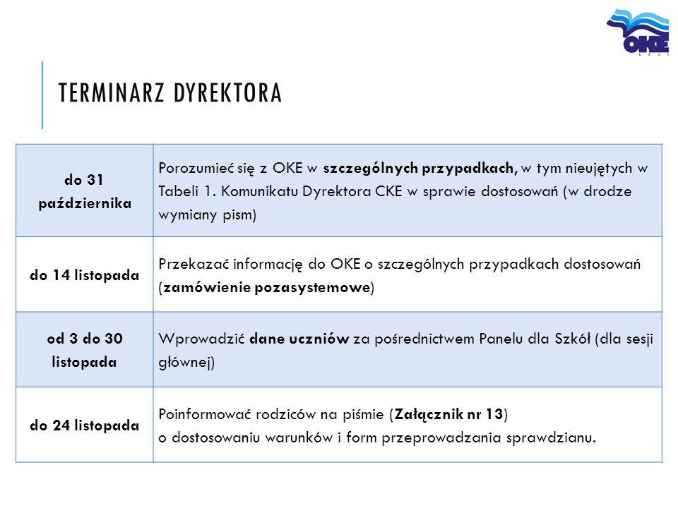 do 31 października Porozumieć się z OKE w szczególnych przypadkach, w tym nieujętych w Tabeli 1. Komunikatu Dyrektora CKE w sprawie dostosowań (w drod