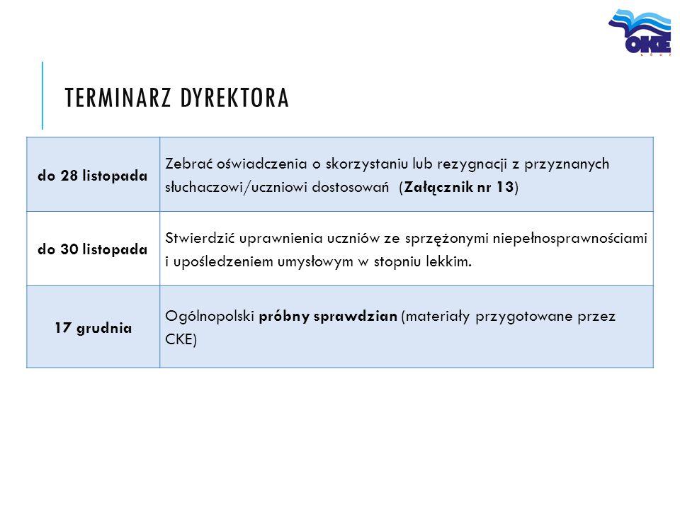 do 28 listopada Zebrać oświadczenia o skorzystaniu lub rezygnacji z przyznanych słuchaczowi/uczniowi dostosowań (Załącznik nr 13) do 30 listopada Stwi