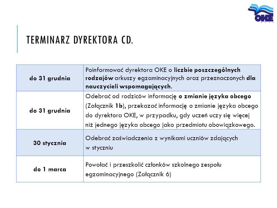 do 31 grudnia Poinformować dyrektora OKE o liczbie poszczególnych rodzajów arkuszy egzaminacyjnych oraz przeznaczonych dla nauczycieli wspomagających.