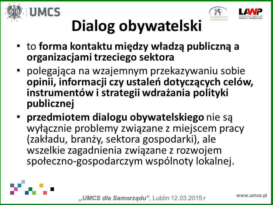 www.umcs.pl Dialog obywatelski to forma kontaktu między władzą publiczną a organizacjami trzeciego sektora polegająca na wzajemnym przekazywaniu sobie