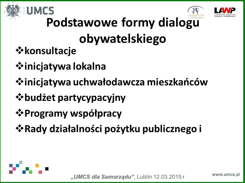 www.umcs.pl Podstawowe formy dialogu obywatelskiego  konsultacje  inicjatywa lokalna  inicjatywa uchwałodawcza mieszkańców  budżet partycypacyjny