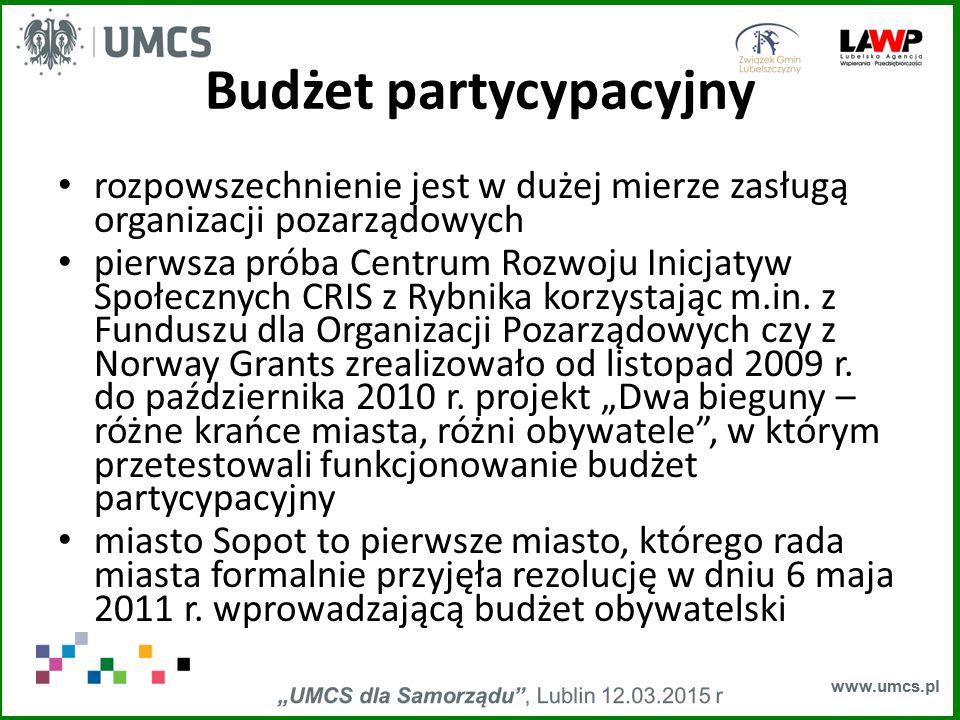 www.umcs.pl Budżet partycypacyjny rozpowszechnienie jest w dużej mierze zasługą organizacji pozarządowych pierwsza próba Centrum Rozwoju Inicjatyw Spo