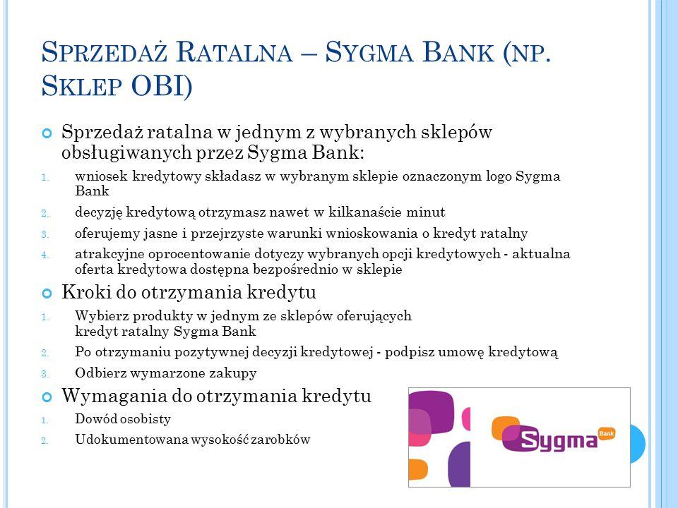 S PRZEDAŻ R ATALNA – S YGMA B ANK ( NP. S KLEP OBI) Sprzedaż ratalna w jednym z wybranych sklepów obsługiwanych przez Sygma Bank: 1. wniosek kredytowy