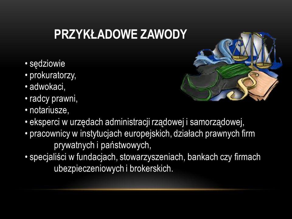 PRZYKŁADOWE ZAWODY sędziowie prokuratorzy, adwokaci, radcy prawni, notariusze, eksperci w urzędach administracji rządowej i samorządowej, pracownicy w