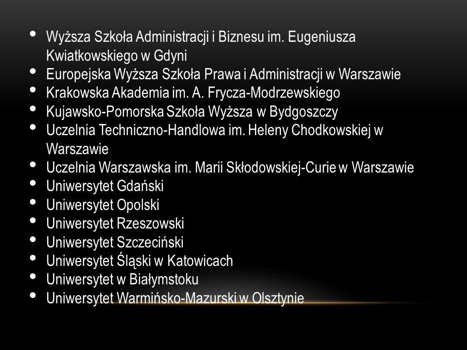 Wyższa Szkoła Administracji i Biznesu im. Eugeniusza Kwiatkowskiego w Gdyni Europejska Wyższa Szkoła Prawa i Administracji w Warszawie Krakowska Akade