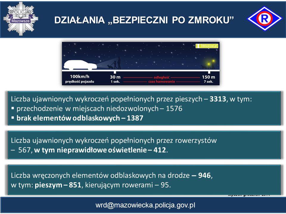 """wrd@mazowiecka.policja.gov.pl DZIAŁANIA """"BEZPIECZNI PO ZMROKU"""