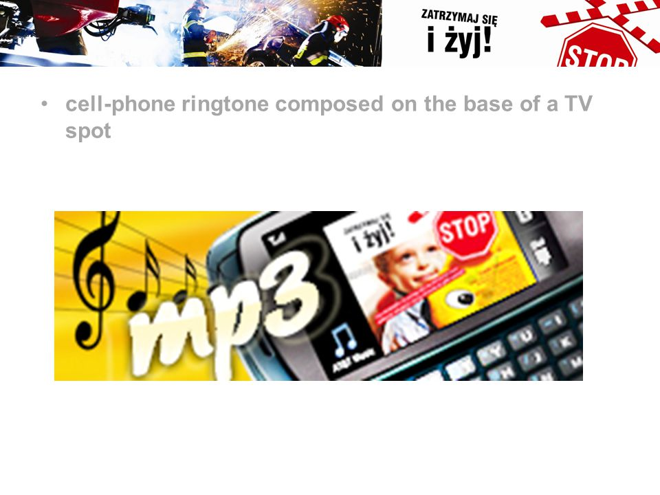 cell-phone ringtone composed on the base of a TV spot