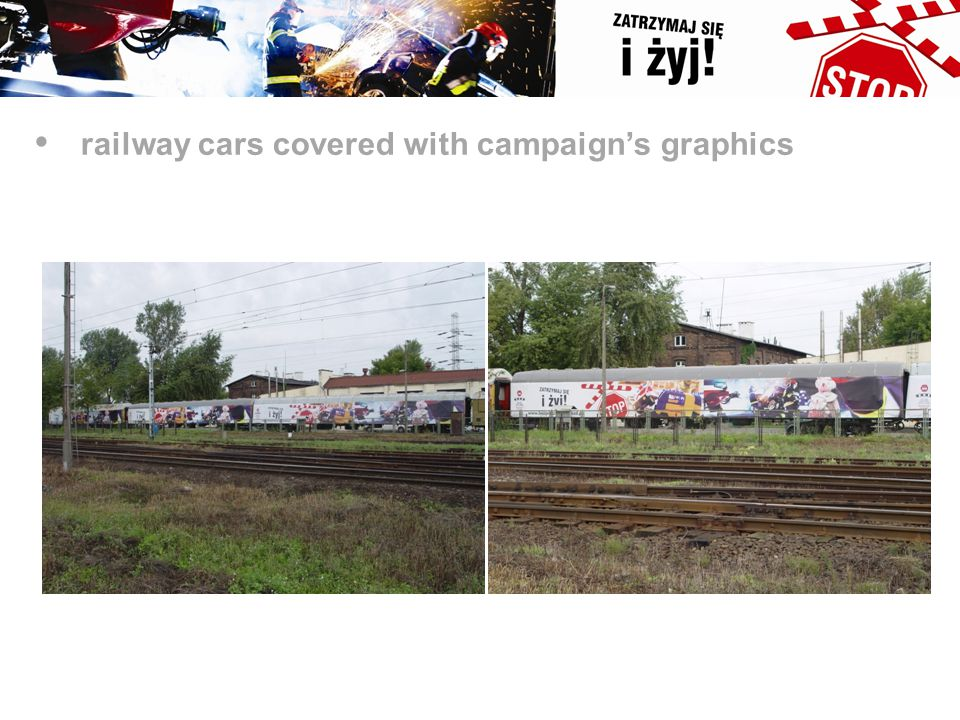 railway cars covered with campaign's graphics