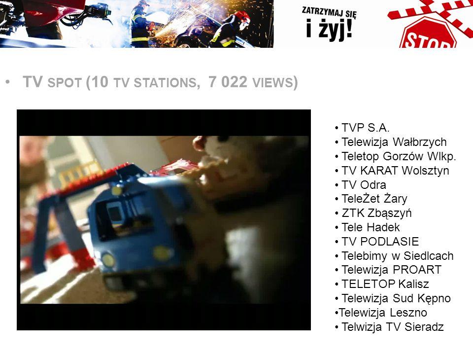 s TV SPOT (10 TV STATIONS, 7 022 VIEWS ) TVP S.A. Telewizja Wałbrzych Teletop Gorzów Wlkp. TV KARAT Wolsztyn TV Odra TeleŻet Żary ZTK Zbąszyń Tele Had