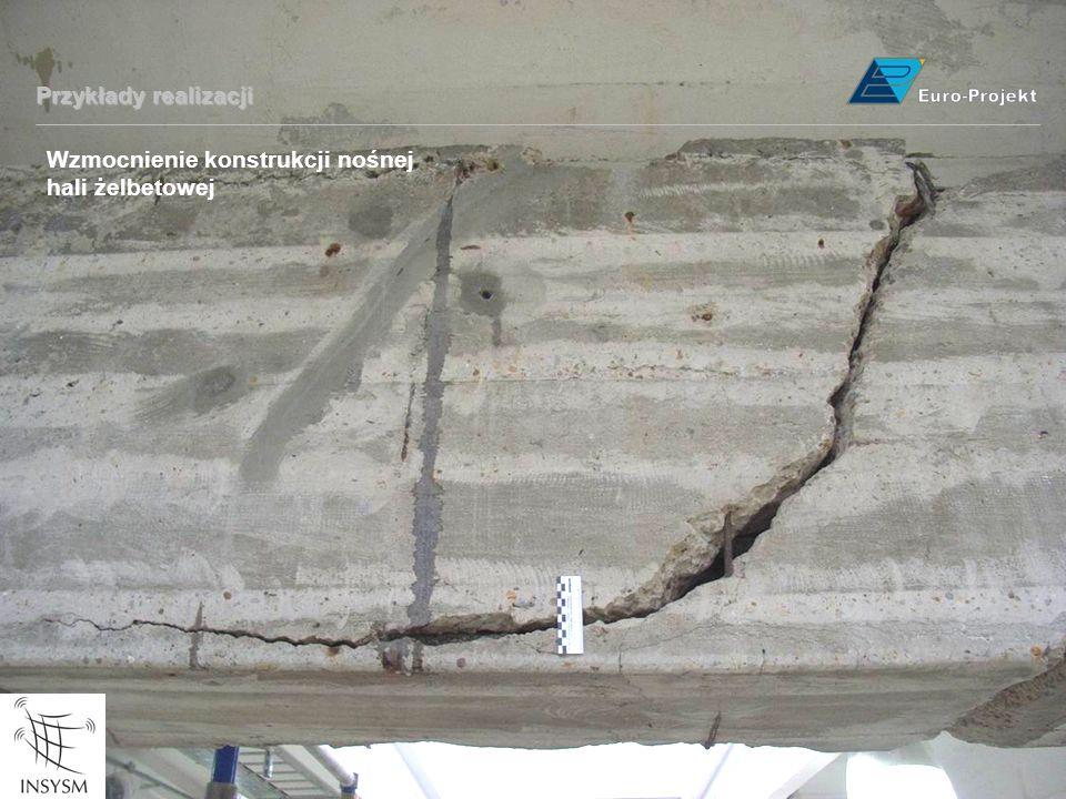 Przykłady realizacji Wzmocnienie konstrukcji nośnej hali żelbetowej