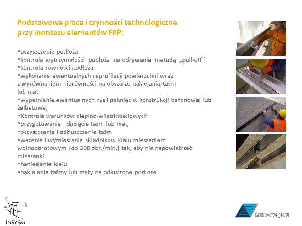 """Podstawowe prace i czynności technologiczne przy montażu elementów FRP:  oczyszczenie podłoża  kontrola wytrzymałości podłoża na odrywanie metodą """"p"""