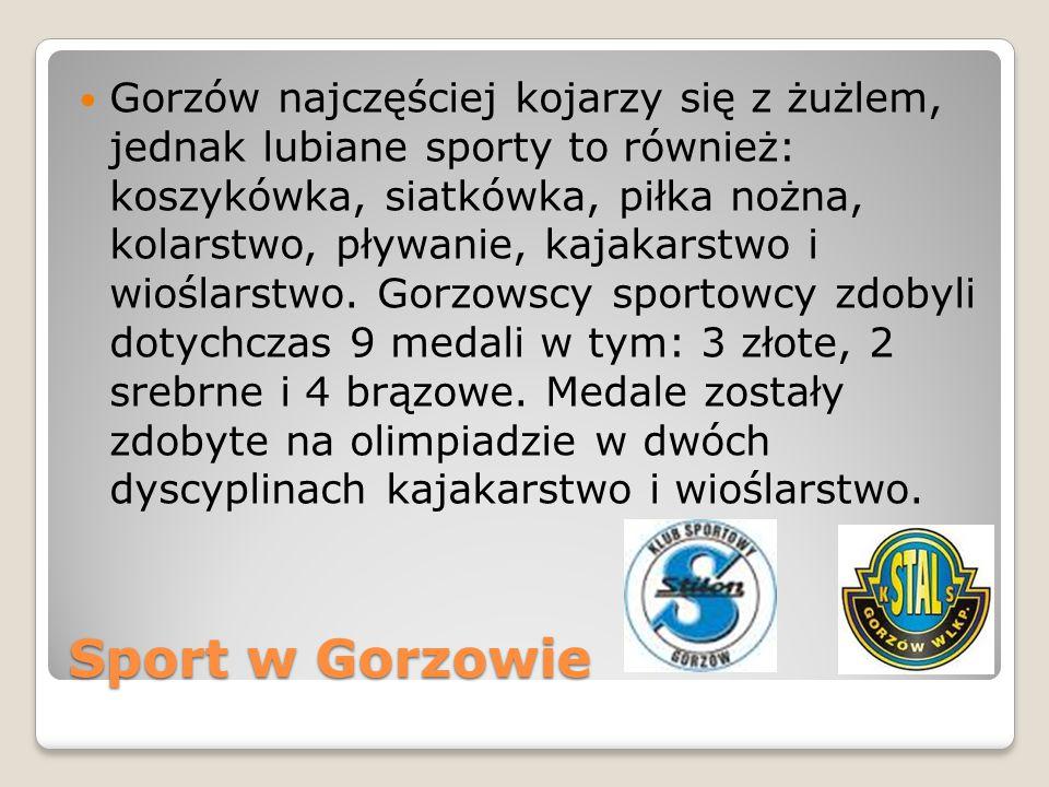 Sport w Gorzowie Gorzów najczęściej kojarzy się z żużlem, jednak lubiane sporty to również: koszykówka, siatkówka, piłka nożna, kolarstwo, pływanie, k