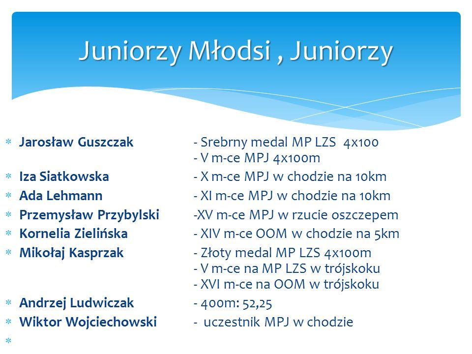  Jarosław Guszczak- Srebrny medal MP LZS 4x100 - V m-ce MPJ 4x100m  Iza Siatkowska- X m-ce MPJ w chodzie na 10km  Ada Lehmann- XI m-ce MPJ w chodzi