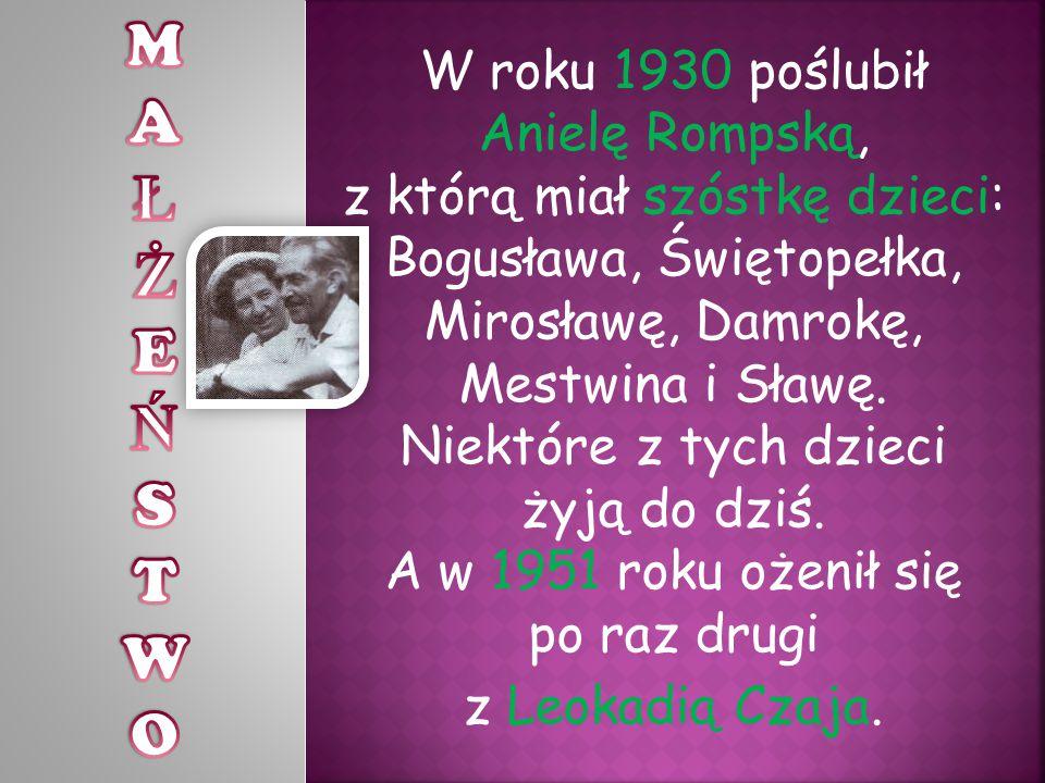 W roku 1930 poślubił Anielę Rompską, z którą miał szóstkę dzieci: Bogusława, Świętopełka, Mirosławę, Damrokę, Mestwina i Sławę.