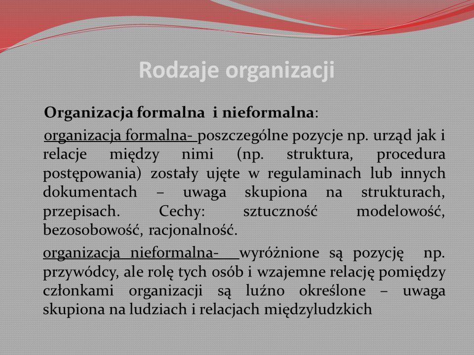 Rodzaje organizacji Organizacja formalna i nieformalna: organizacja formalna- poszczególne pozycje np.