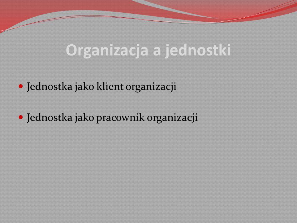 Organizacja a jednostki Jednostka jako klient organizacji Jednostka jako pracownik organizacji