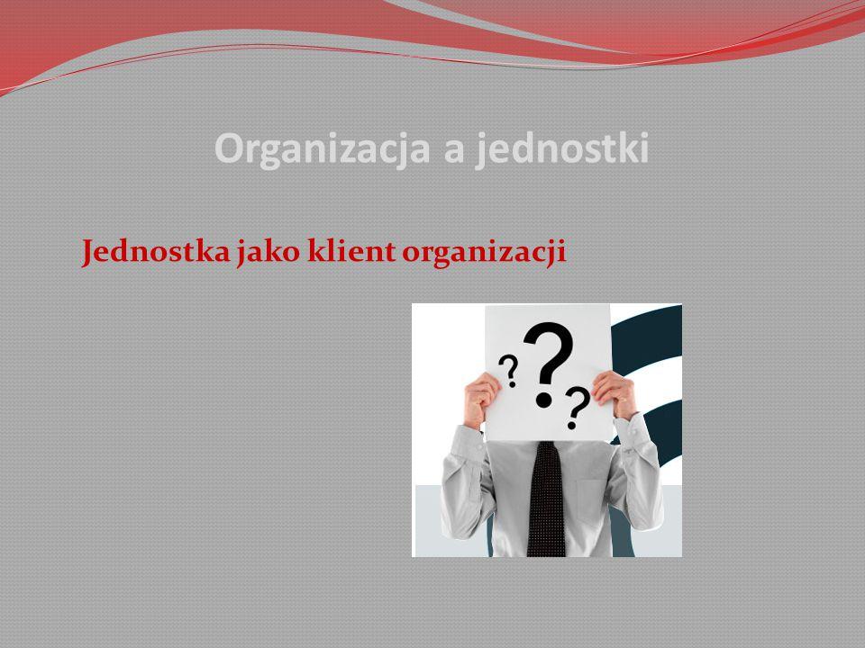Organizacja a jednostki Jednostka jako klient organizacji
