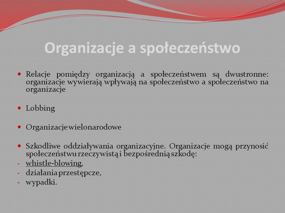 Organizacje a społeczeństwo Relacje pomiędzy organizacją a społeczeństwem są dwustronne: organizacje wywierają wpływają na społeczeństwo a społeczeństwo na organizacje Lobbing Organizacje wielonarodowe Szkodliwe oddziaływania organizacyjne.