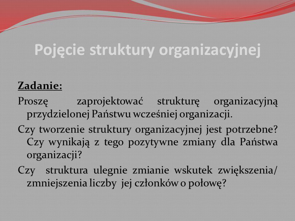 Pojęcie struktury organizacyjnej Zadanie: Proszę zaprojektować strukturę organizacyjną przydzielonej Państwu wcześniej organizacji.