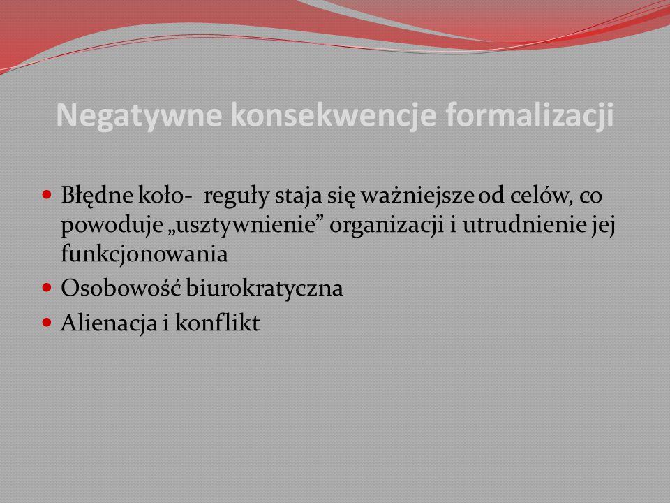 """Negatywne konsekwencje formalizacji Błędne koło- reguły staja się ważniejsze od celów, co powoduje """"usztywnienie organizacji i utrudnienie jej funkcjonowania Osobowość biurokratyczna Alienacja i konflikt"""