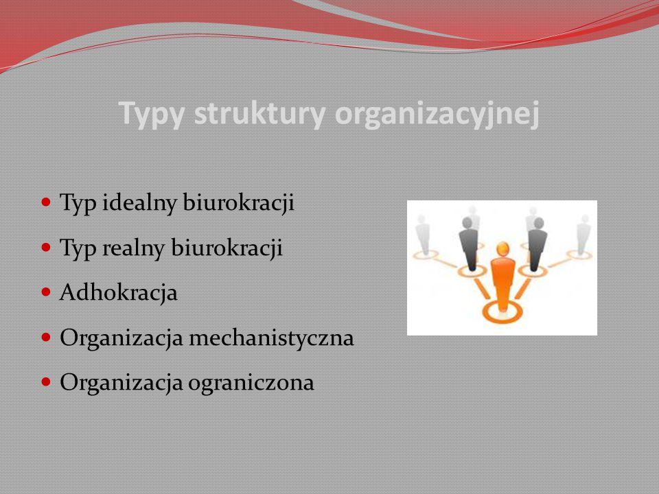 Typy struktury organizacyjnej Typ idealny biurokracji Typ realny biurokracji Adhokracja Organizacja mechanistyczna Organizacja ograniczona