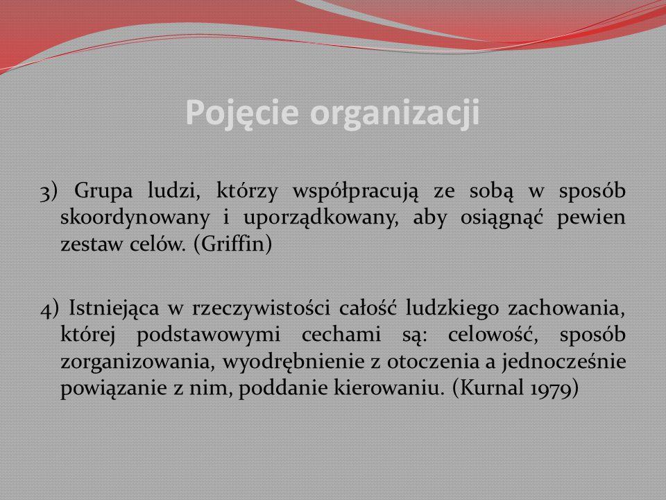 Pojęcie organizacji 3) Grupa ludzi, którzy współpracują ze sobą w sposób skoordynowany i uporządkowany, aby osiągnąć pewien zestaw celów.