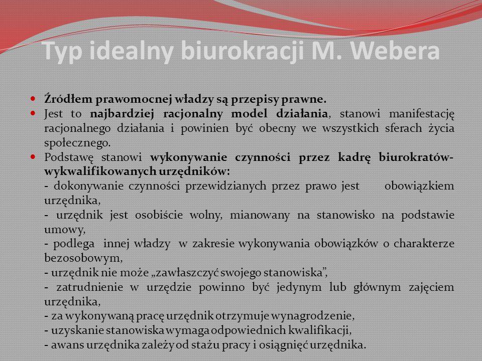 Typ idealny biurokracji M.Webera Źródłem prawomocnej władzy są przepisy prawne.