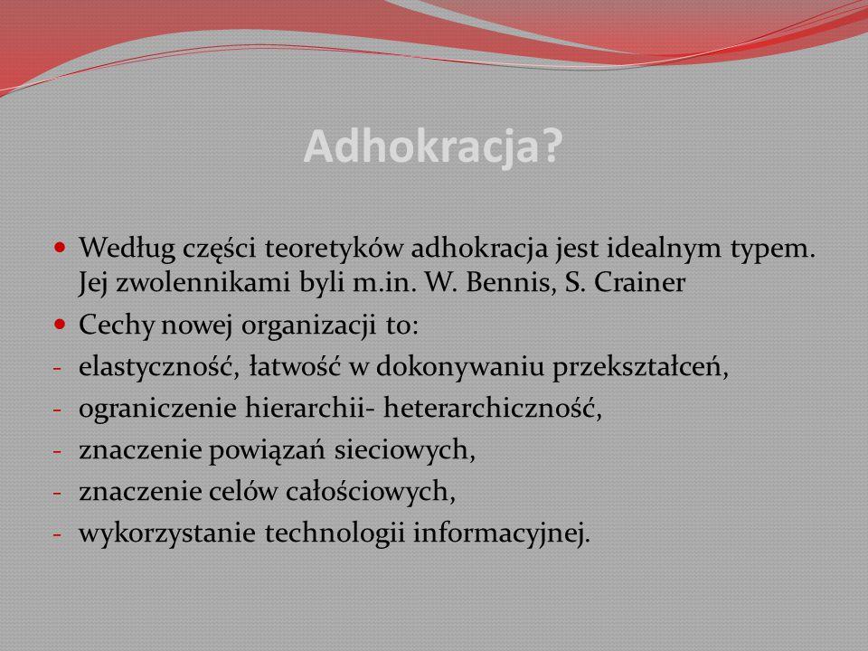 Adhokracja.Według części teoretyków adhokracja jest idealnym typem.