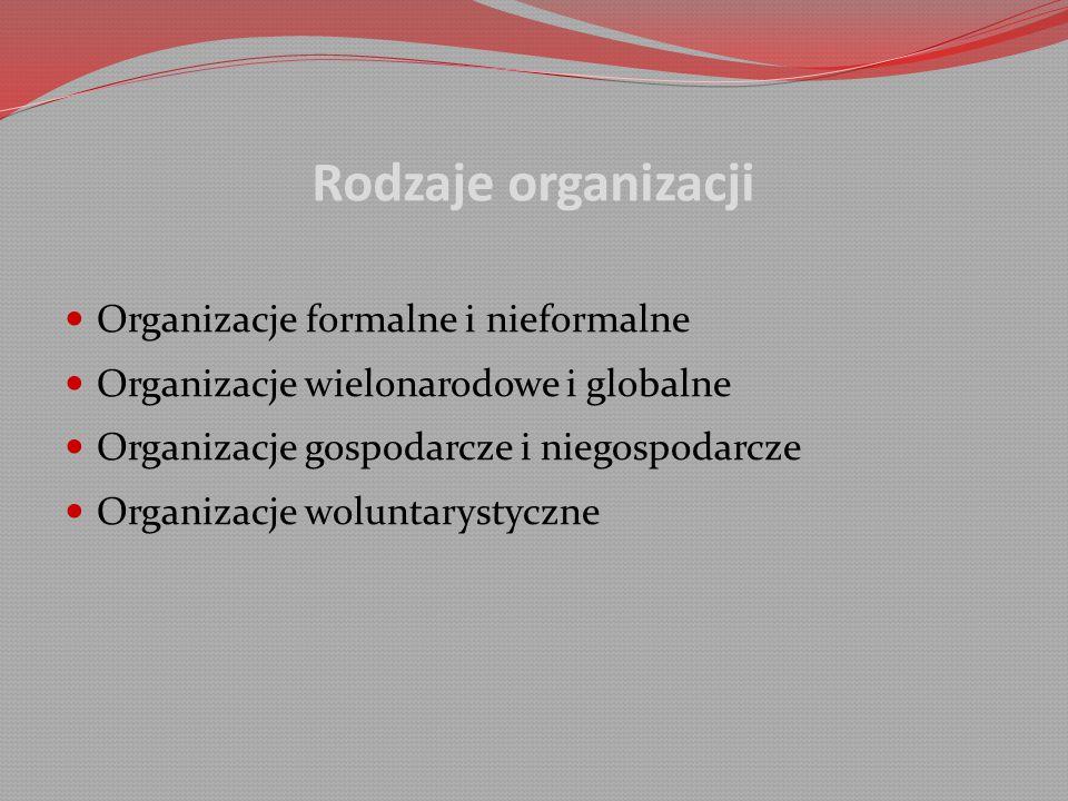 Rodzaje organizacji Organizacje formalne i nieformalne Organizacje wielonarodowe i globalne Organizacje gospodarcze i niegospodarcze Organizacje woluntarystyczne