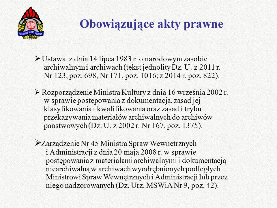 Obowiązujące akty prawne  Ustawa z dnia 14 lipca 1983 r.
