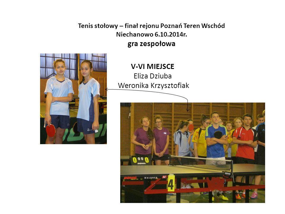 Tenis stołowy – finał rejonu Poznań Teren Wschód Niechanowo 6.10.2014r. gra zespołowa V-VI MIEJSCE Eliza Dziuba Weronika Krzysztofiak