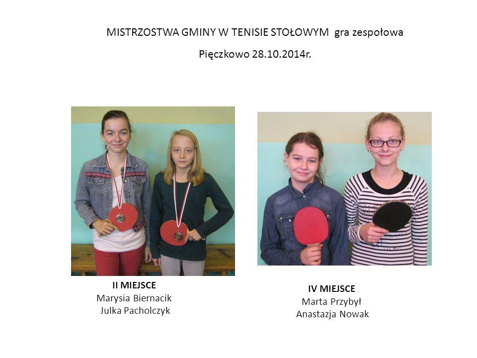 MISTRZOSTWA GMINY W TENISIE STOŁOWYM gra zespołowa Pięczkowo 28.10.2014r.