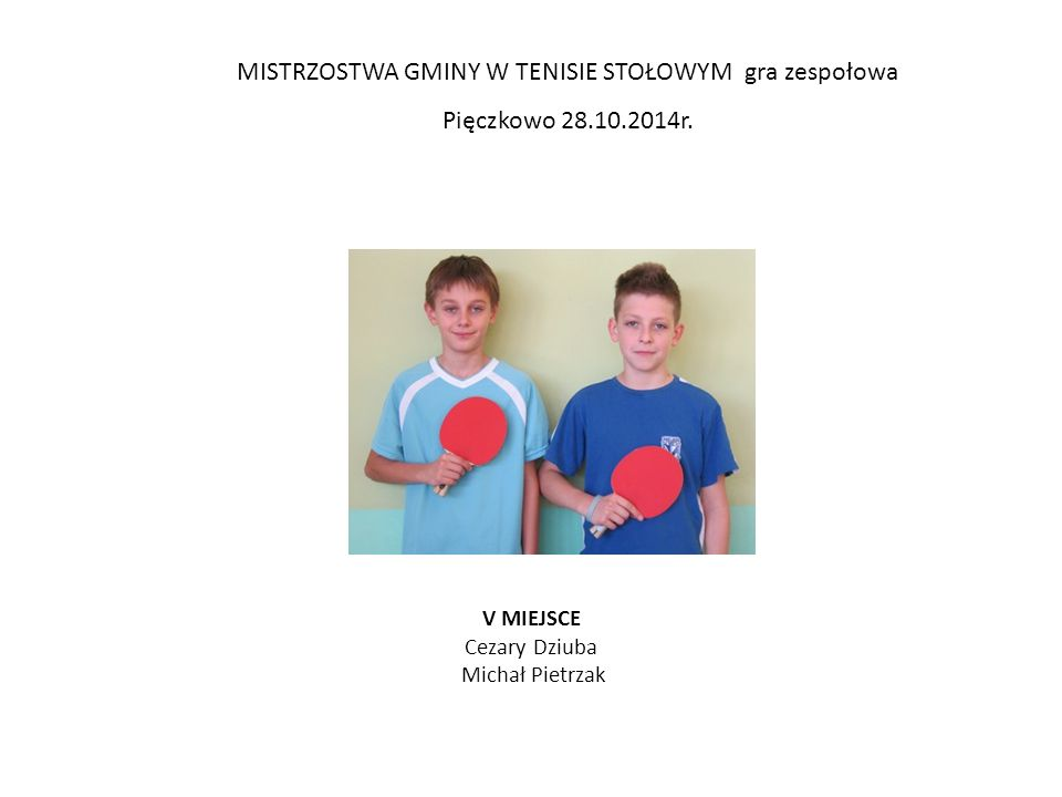 MISTRZOSTWA POWIATU W TENISIE STOŁOWYM gra zespołowa KRZYKOSY 29.10.2014r.