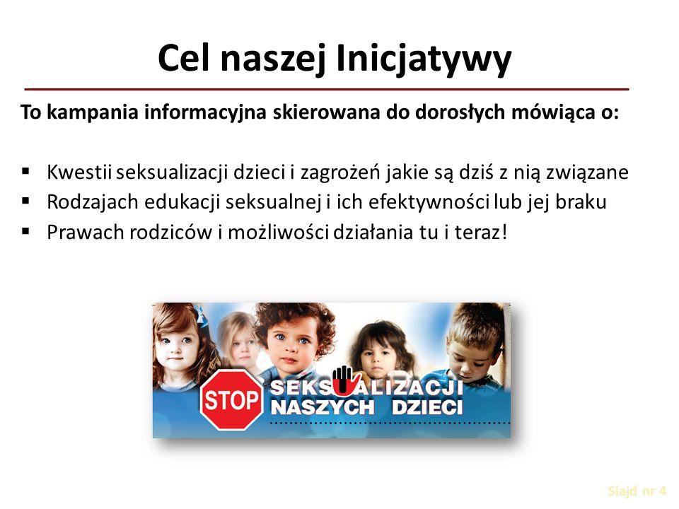 Cel naszej Inicjatywy Slajd nr 4 To kampania informacyjna skierowana do dorosłych mówiąca o: KKwestii seksualizacji dzieci i zagrożeń jakie są dziś